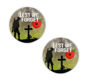 Lest We Forget Remembrance Poppy Stickers Small Decals x 2
