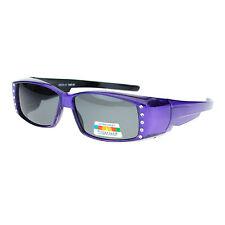 Womens Rhinestone Rectangular Polarized Fit Over Glasses OTG Sunglasses