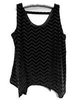 Lane Bryant Blouse Tank Plus Size 22/24 Sleeveless Black Chevron Velvet Trim