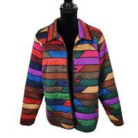 Victor Costa Occasion Multicolor Striped Purple Lightweight Spring Silk Jacket