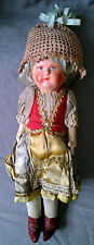 Antique Germany Doll Straw Cloth Body Painted Composition
