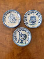 M. A. HADLEY Pottery Coasters, three originals