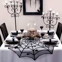 Halloween Tablecloth Lace Black Spider Web Bat Cover Party Desk Home Decor KY