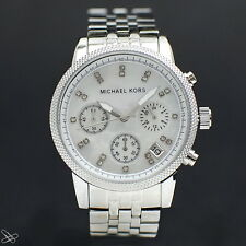 Michael Kors MK5020 Damenuhr Chronograph Edelstahl Kristall Besatz Farbe: Silber