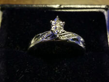 Women's 10K White Gold Engagement Ring with Diamond Accents, Size 6