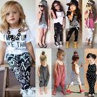 2PCS Toddler Kids Baby Girls T-shirt Tops+Pants/Shorts/Dress Outfits Set Clothes