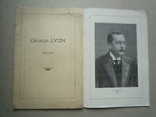 1929 GEORGES LYON 1853 - 1929 BIOGRAPHIE DISCOURS DIVERS LETTRES