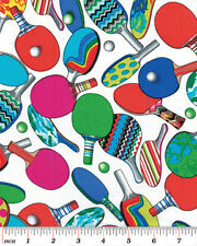 Benartex Games People Play by Kanvas 5872 9 Ping Pong BTY Cotton Fabric