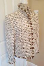 ESCADA jacket coat mink trim 40 12  Dogstooth cream Rabbit Llama Wool Immaculate
