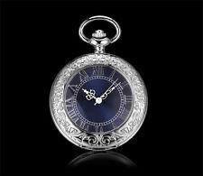 Men Watch Mechanical Pocket Watch Blue Silver Skeleton Watches Hand Wind Vintage