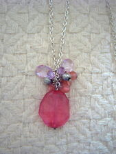 * BEADED PENDANT - SILVER COLOURED METAL CHAIN - PINK & PURPLE BEADS