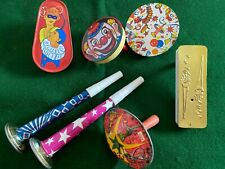 Lot of 7 Vintage Noise Makers Tin Litho Horns Spinners Click Clackers NYE Party