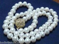 9-10MM WHITE AKOYA CULTURED PEARL ROUND BEADS NECKLACE 18""