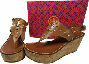 $295 Tory Burch Dale Cork Wedge Thongs Sandals Shoe Flip Flops 10 Rockstudded