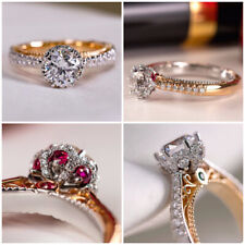 2 Style Two Tone 925 Silver Jewelry for Women Fashion Cubic Zircon Ring Sz 6-10