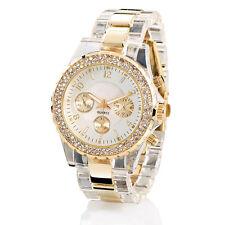 Uhren Damen: Elegante Quarz-Armbanduhr, transparent-gold (Armbanduhr für Frau)