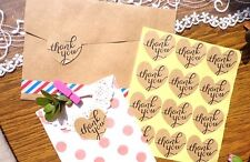 "60 Rustic Love Heart ""Thank You"" Stickers Labels DIY Scrapbooking Craft Vintage"