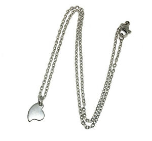 hypoallergenic stainless steel minimalist necklace 16 inches heart love