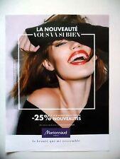 PUBLICITE-ADVERTISING :  MARIONNAUD 25% nouveautés  2015 Cosmétique