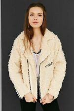 Unif x Urban Outfitters Furry Moto Coat beige, maat L