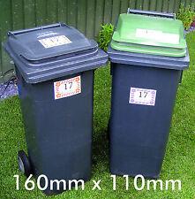 Wheelie bin stickers x 4. Black labrador design. street/House number. 160x110mm.