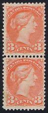 Canada 1889 SG 105 3c Bright Vermilion Fresh Mint Pair