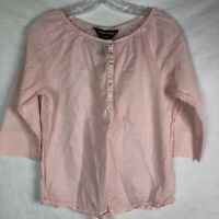 Norma Kamali Pink Shirt Sz S Cotton Blouse Elastic Neck Off The Shoulder