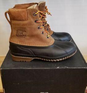 NEW IN THE BOX SOREL CHEYANNE II CHIPMUNK, BLACK  WATERPROOF BOOTS FOR MEN