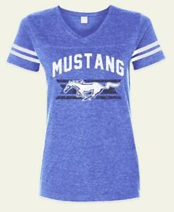 FORD MUSTANG LADIES FOOTBALL STYLE JERSEY IN MEDIUM BLIE