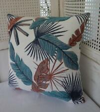 Teal & Tan BrownTropical Leaves Jacquard Fabric Cushion Cover 45
