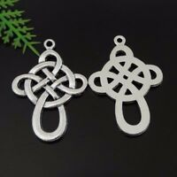 39442 Antique Silver Tone Alloy Rope Knot Charms Pendant 32*22*1mm 37PCS