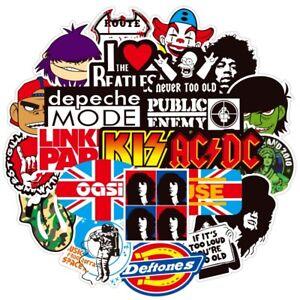 UK 100 Rock Stickers Heavy Metal Punk Band Music Guitar Car Decal Skateboard NEW