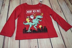 The Children's Place Boys Merry Rexmas Dinosaur Christmas Shirt