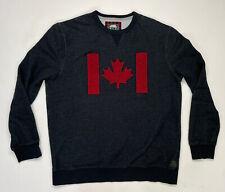 Roots Canada Flag Crewneck Sweatshirt Men Adult XXL Black