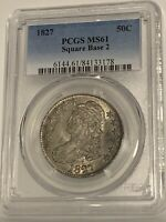 1827 50C Capped Bust Silver Half Dollar PCGS MS61