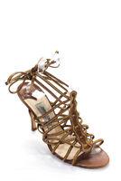 Jimmy Choo Women's Strappy Sandal Heels Leather Brown Size 39.5 9.5