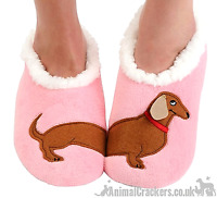 Ladies Snoozies Pink Dachshund Cosy washable Slippers Sausage Dog lover gift