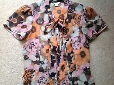 **MONSOON* £49 Short Sleeved Multi Pussy Bow Blouse Top with Cami Size 8