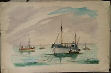 "Peinture Aquarelle PIERRE ABADIE LANDEL "" Marine "" Bretagne PAL31"