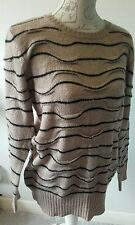 Limited Collection size S M&S knit long warm brown black stripe jumper LOOK