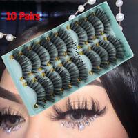 10Pairs*3D False Eyelashes Wispy Fluffy Natural Long Eye Lashes Extension Tool