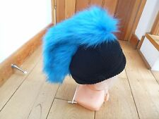 DIESEL BLACK BLUE FUR MOHICAN KNITTED WINTER BEANIE HAT ONE SIZE BNWT