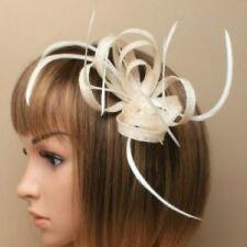Cream Clip Feather Fascinator Ladies Day Royal Ascot Races Wedding Hair Clip