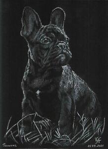 original drawing A4 136VA art samovar Pastel Realism animal French Bulldog