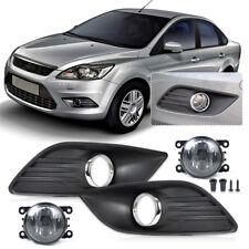 For 2009-2011 Ford Focus Bumper Fog Light Cover Grille + Lamp Kit Set Sedan