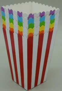 Popcorn boxes stripe rainbow colours party birthday wedding *UK SELLER*