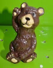 "New listing 5"" Brown Bear waving Yard Statue Garden Figurine Flower Pot Stake #32"