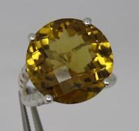 **Lovely Large Sterling Silver Golden Quartz Ring UK Size S**