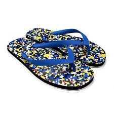 NWT $295 Fendi Mens Multicolor Granite Print Logo Flip Flops Sandals 6 AUTHENTIC