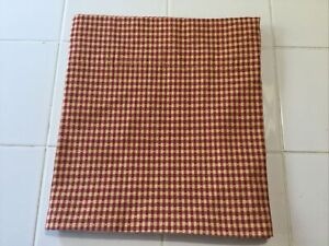 """Country Curtains Brand Red/Tan Small Check Gingham Lined Valance 42x11.5"""""""